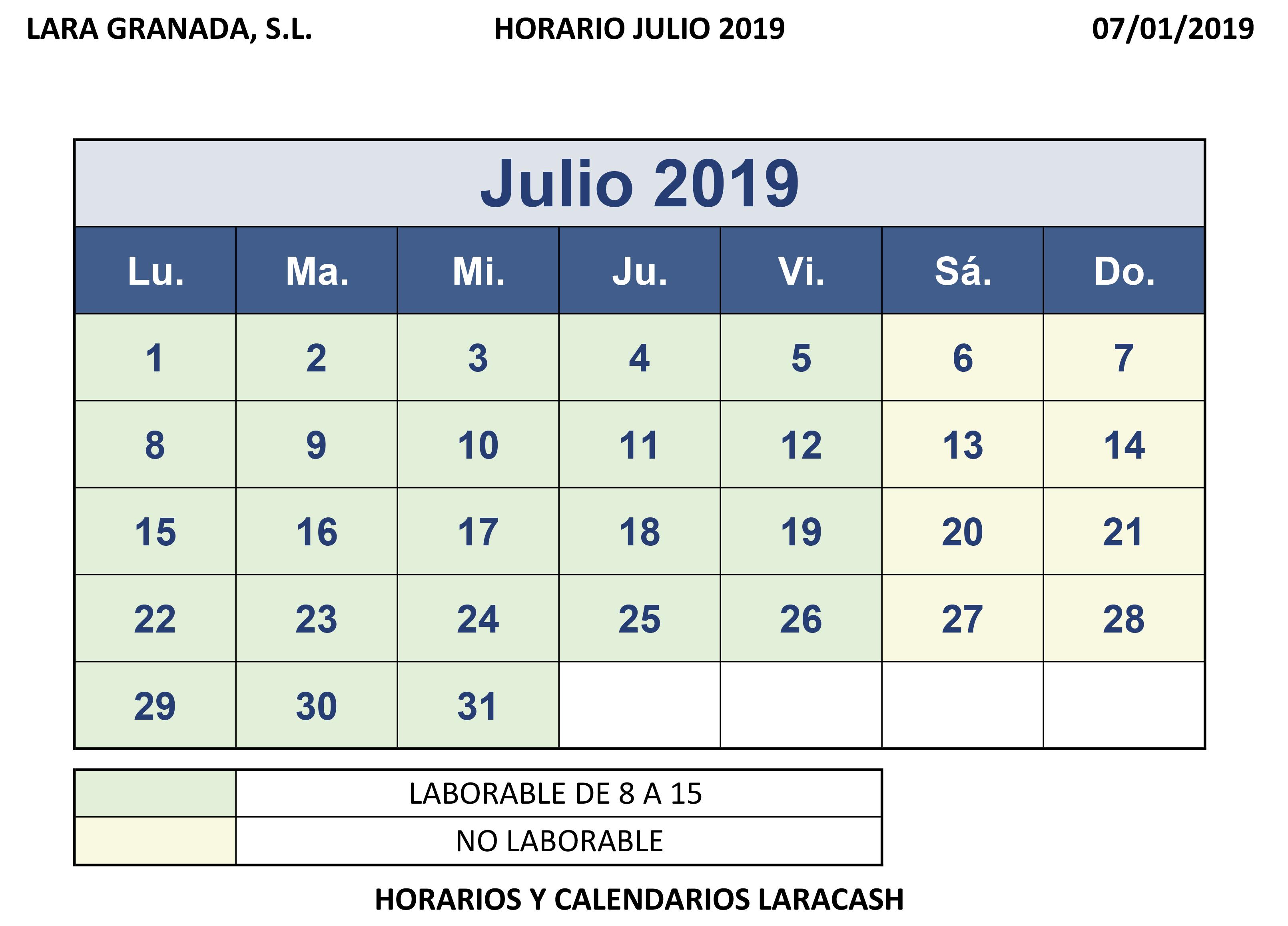 Julio Calendario.Calendario Julio Y Agosto Lara Granada